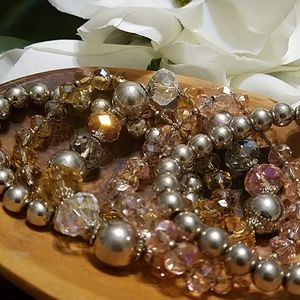 Candie's Jewelry - Silver Pink Yellow Bracelet Set